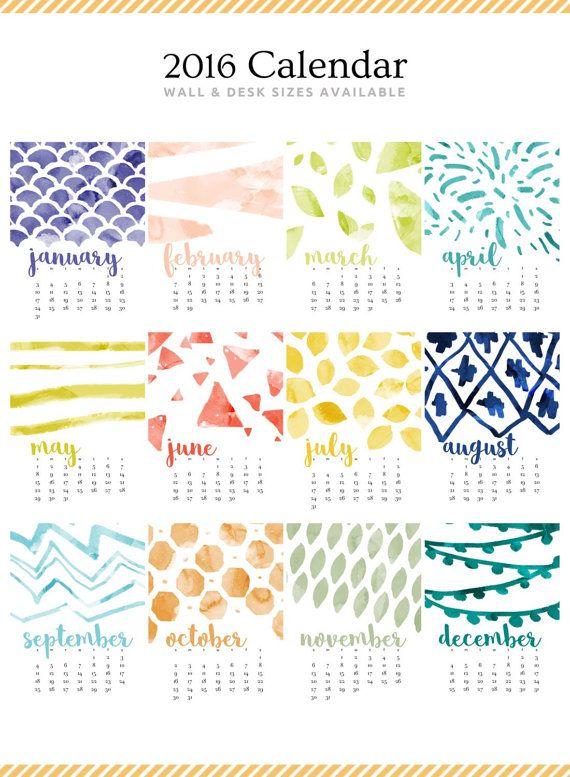 2016 Monthly Desk Calendar Bold Modern por ChristineMarieB en Etsy