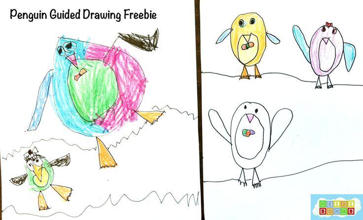 Guided Drawing Penguins freebie from HeidiSongs.  #kindergarten