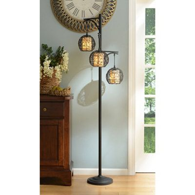 Triple Wicker Floor Lamp Living Room Wicker Floor Lamp