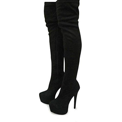 Fashion Thirsty Damen Oberschenkel Hohe Overknee Stiefel Dehnbare Wildleder…