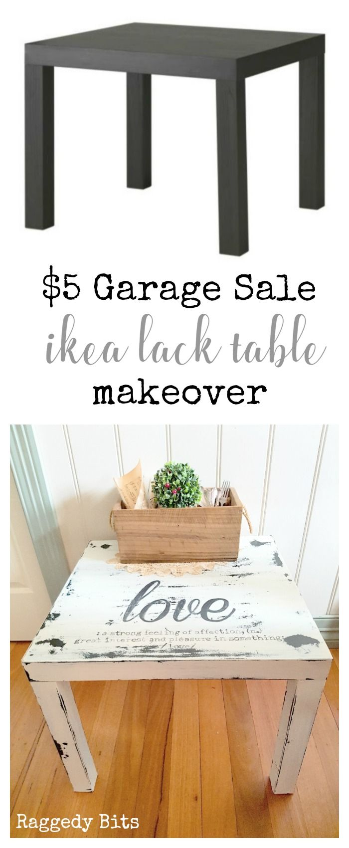 See how easy it is to turn a old ikea find at a garage sale into something that will add some farmhouse charm to your home | The $5 Garage Sale Ikea Lack Make Over | www.raggedy-bits.com