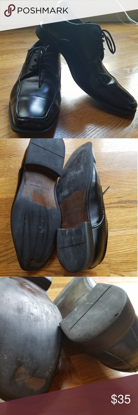 Joseph Abboud mens 11 GUC In good used condition, these black leather Joseph Abboud shoes have rubber soles and padded insoles. I did a quick polish and I'm by no means a shoe polish expert so you could probably do better. Smoke-free home. No trades or transactions outside of Poshmark. Joseph Abboud Shoes Oxfords & Derbys