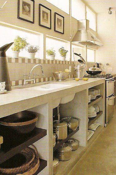 cozinha com bancada de concreto