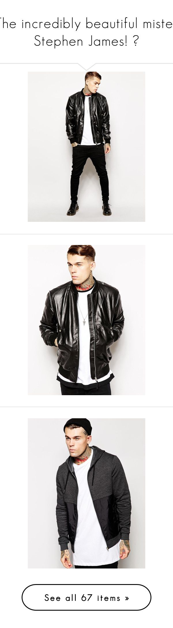 """The incredibly beautiful mister Stephen James! ♥"" by indahouseagain ❤ liked on Polyvore featuring ASOS, Model, StephenJames, stephen james, outerwear, jackets, black, real leather jackets, zipper jacket and bomber style jacket"