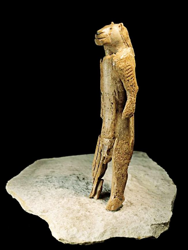 The Lion Man This lion headed figure is carved with stone tools out of mammoth ivory and stands 30cm-tall. The ivory had broken into tiny fragments and it had to be reconstructed. Dated: circa 40,000 BCE Found: Stadel Cave in Hohlenstein Mountain, Swabian Alps, Germany