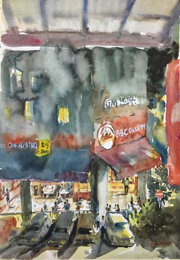 ABC One Bistro Bandar Sunway  Watercolour by Brian Tai