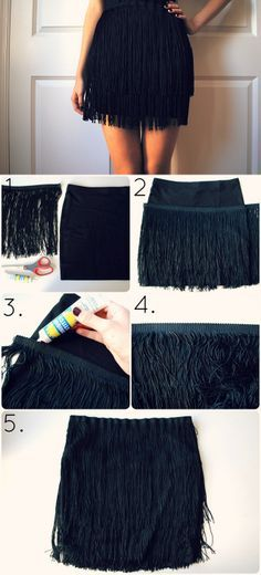 I wouldn't use glue, but sewing on strip of tassels (or shredding an old tee - recycling!) onto an old mini tube - skirt sounds fab.  Movement to the max!