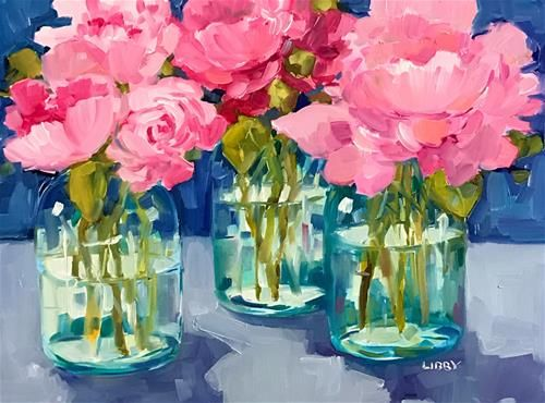 """Daily Paintworks - """"Three Peonies"""" - Original Fine Art for Sale - © Libby Anderson"""