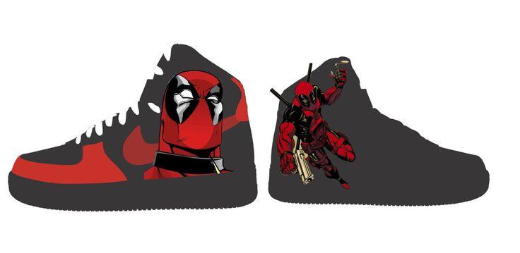 Custom Painted Deadpool Shoes by ProjektKreations on Etsy https://www.etsy.com/listing/275900874/custom-painted-deadpool-shoes