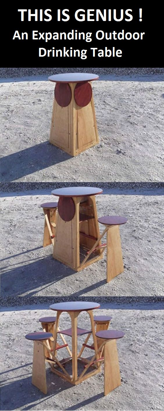 How to Build An Expanding Outdoor Drinking Table. This is a great woodworking…