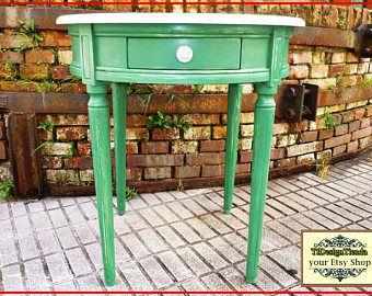 Muebles pintados, Mesa Madera Maciza, Mesa de desayuno, Mesa Vintage, Mesa recibidor, Muebles estilo inglés, Mesa redonda Verde y blanca