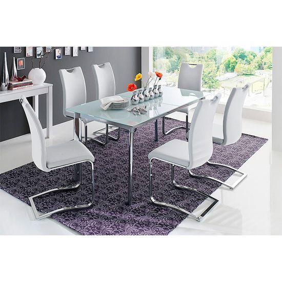 Plato 6 Seater White Dining Table Set With Koln Dining Chairs