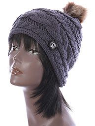 GRAY CABLE KNIT stylish Winter Beanie HAT CAP w / Faux FUR Pom Pom