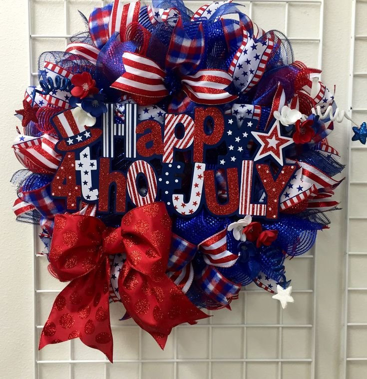 Fourth of July Deco Mesh Wreath, 4th of July Wreath, Indepedence Day Wreath, 4th of July Deco Mesh Wreath, Red, white and blue wreath by RhondasCre8iveCorner on Etsy