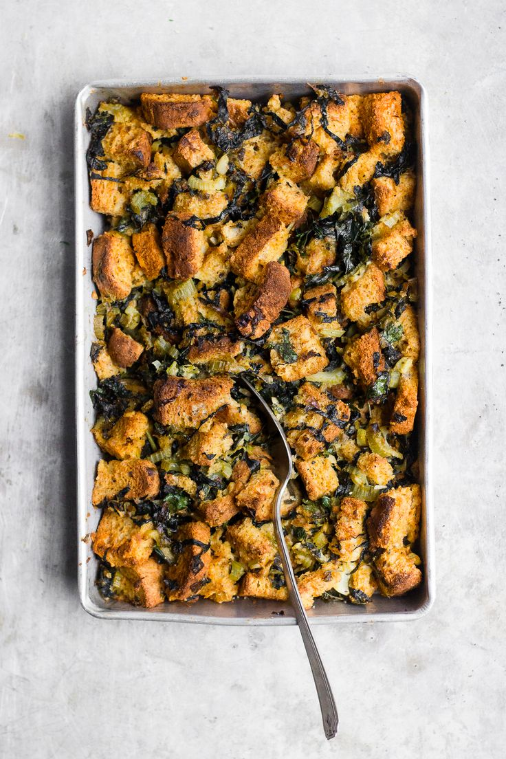 Vegetarian Sage Stuffing with Kale + Ghee   Vegetarian and gluten-free sage stuffing, made with nourishing ghee and kale. A vegetarian gluten-free stuffing with a vegan alternative.
