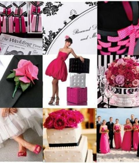 Pink and Black Wedding Ideas - the flower girl basket and brides shoes are my fave!!