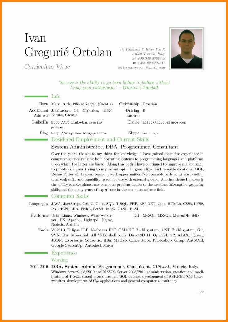 Free Resume Templates Pdf Luxury 9 Cv In English Example