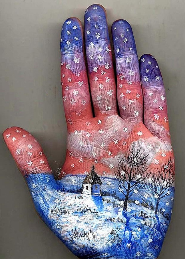 Wintry scene ... Svetlana was inspired to paint her hand after writing poems about leaves,,,,hand art