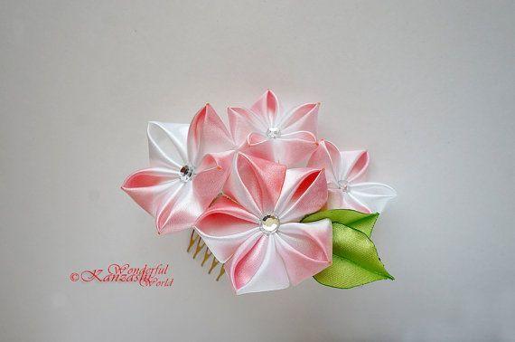 Hand gefärbt Tsumami Kanzashi Hochzeit Kanzashi Haar rot Stoff Blume Kamm Braut Haarschmuck – Kanzashi