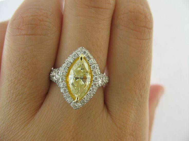 GIA Marquise Cut Diamond Engagement Ring, Fancy Brown Yellow, 2.78ct Halo Diamond Ring, Trillion Brilliant Cut Diamonds, 18k White Gold Ring by USJewelryFactory on Etsy https://www.etsy.com/listing/237171297/gia-marquise-cut-diamond-engagement-ring