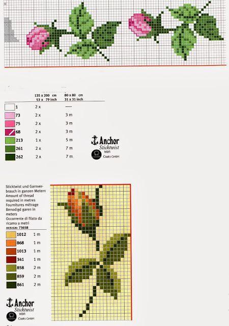 Ricami, lavori e schemi a puntocroce gratuiti: Raccolta di bordi a tema rose