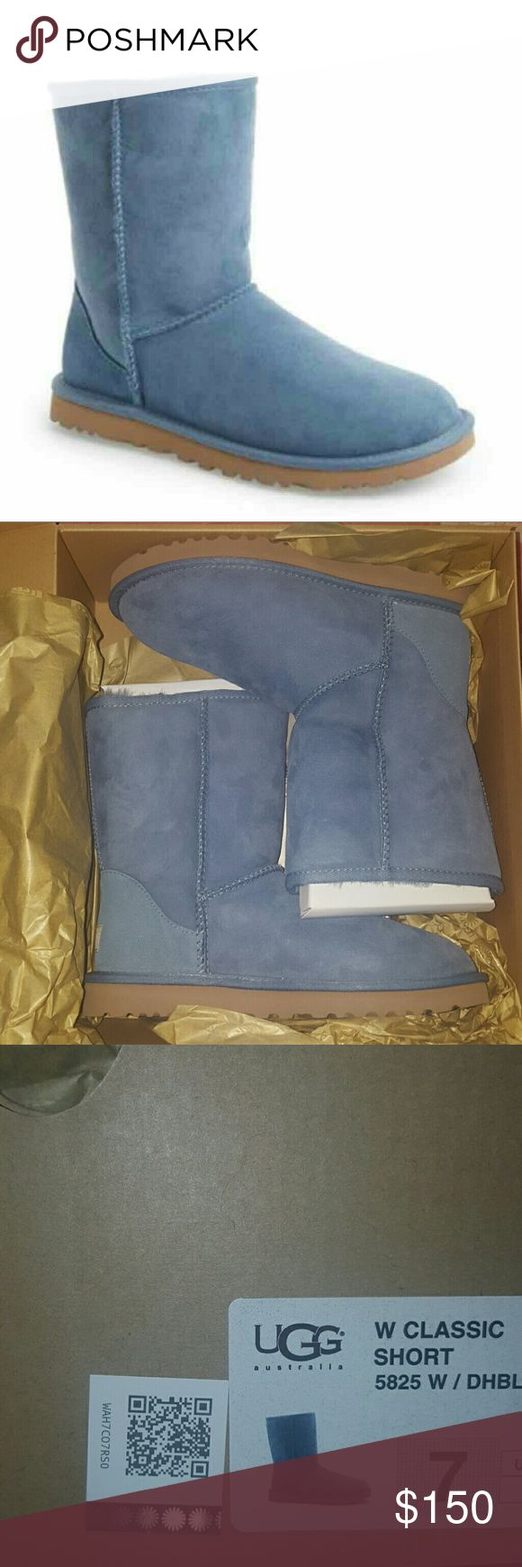 Ugg Australia 7 Dolphin Blue classic short boots New in box, authetic Ugg Australia short boots size 7. Purchased directly from Ugg store in NYC.  Beautiful blue Uggs that will go with just about anything!  Please make sure you know your size in these boots before purchasing. UGG Shoes Winter & Rain Boots
