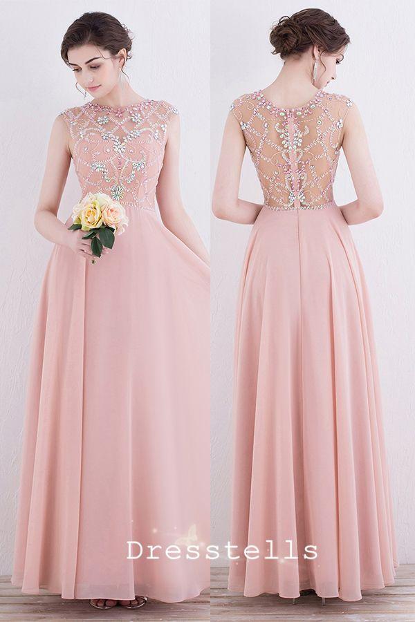 pearl pink prom dresses, chiffon prom dresses, beading prom dresses, round neck prom dresses, long prom dresses @dresstell