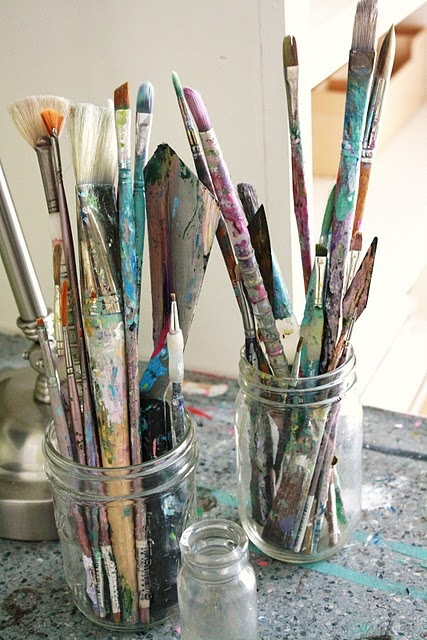 Paint from the heart:)Painting Brushes And, Artists Studios, Heart Painting, Canvas, Paintbrush, Aunts, Style Pinboard, Childhood, Oil Painting