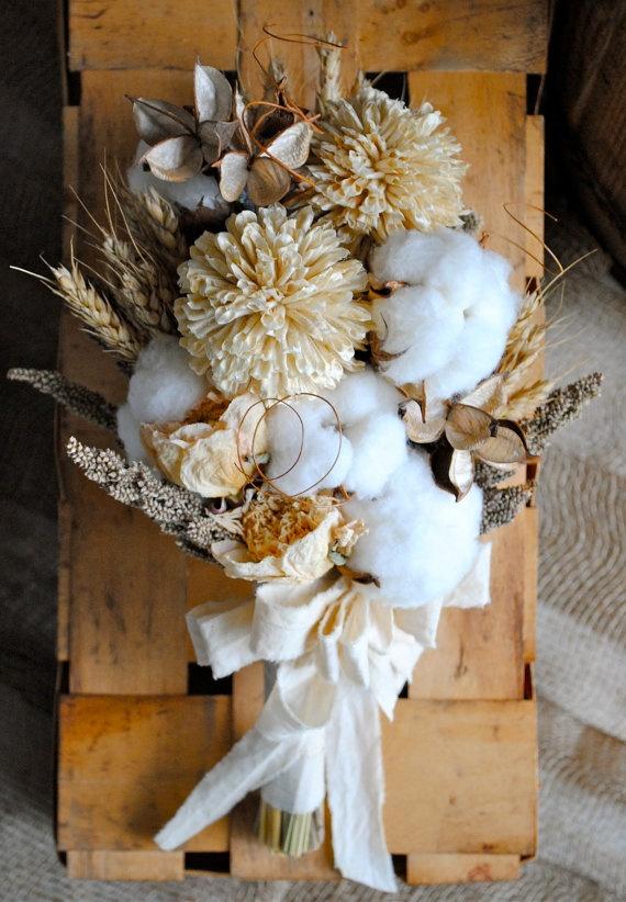 Bridal Bouquet - Natural Cotton Bolls - Raw Cotton - Wedding - Bridesmaids - Dried Bouquet - Boutonnieres. $75.00, via Etsy.
