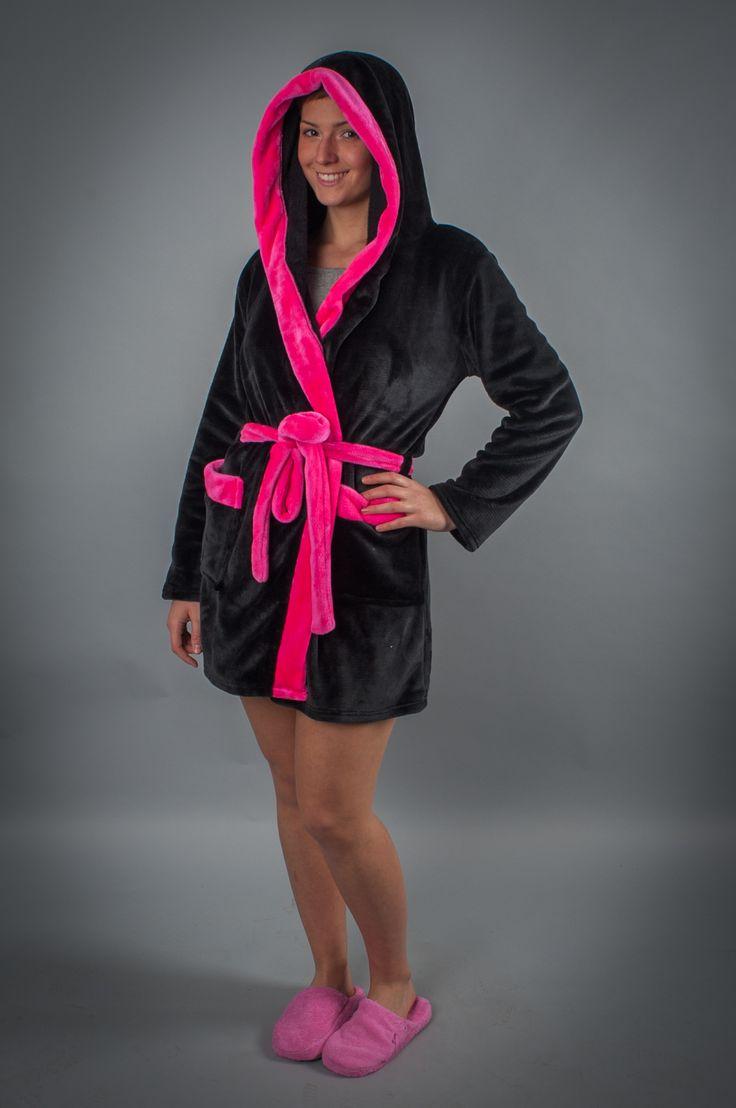 Lucifer köntös - fekete-pink szívecske - Köntös - Hálóruha köntös - a Lucifer terméke - Pihe-puha wellsoft anyagból készült