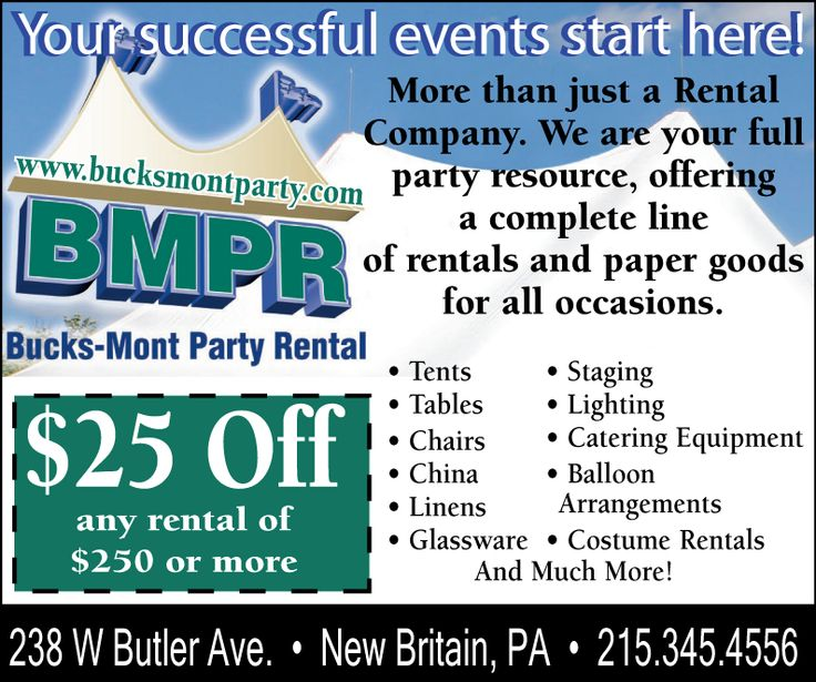 25 Off! Catering equipment, Party rentals, Rental company