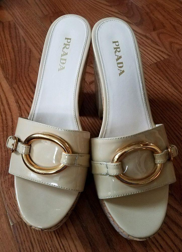 15507615e85a PRADA Size 39 Cream gold hardware Patent Platform Slides Sandals Shoes US  size 9  PRADA  Slides