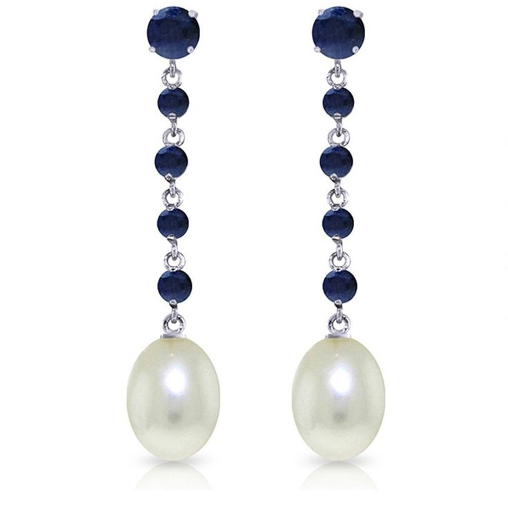 14K Solid White Gold 10 Carat Natural Sapphire Pearl Earrings Wt 4.00g H 1.75in #GalaxyGold #Chandelier