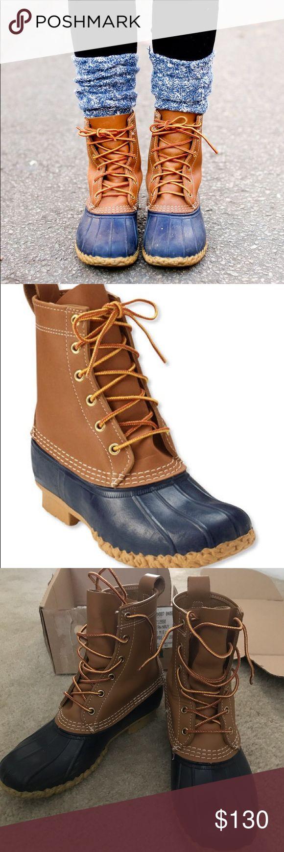 "LL Bean Boots Women's 8 8"" Bean Boots Women's Tan/Navy Worn once - perfect condition L.L. Bean Shoes Winter & Rain Boots"