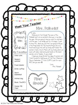 Editable Meet the Teacher Welcome letter Más