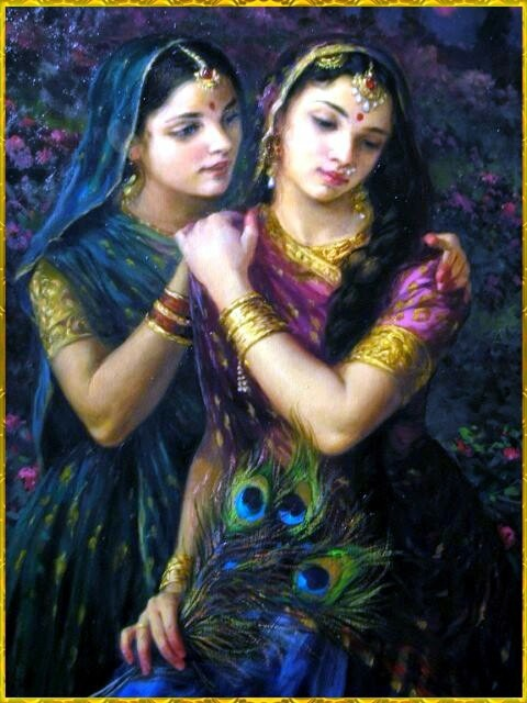 Radharani has her confidants. Here Lalita is  reassuring her when she is feeling separation from Krsna