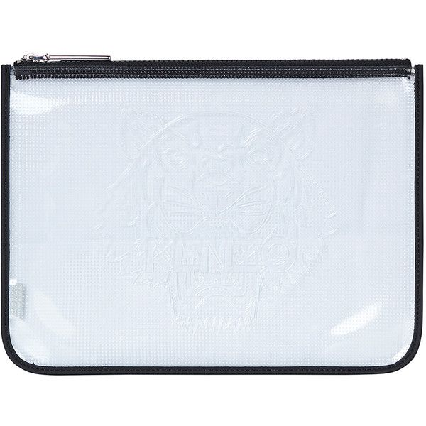 Kenzo Transparent Clutch (£125) ❤ liked on Polyvore featuring bags, handbags, clutches, black, see through purse, clear handbags, clear purses, transparent purse and zip purse