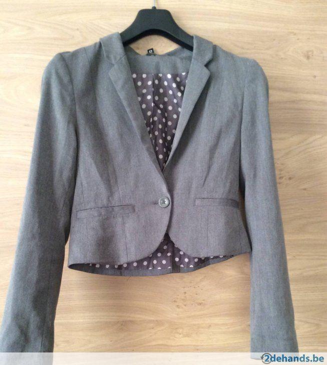 Korte+grijze+blazer+-+Te+koop+in+Antwerpen