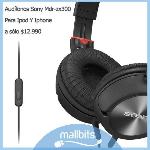 Audífonos Sony Mdr zx 300 para Iphone y Ipod
