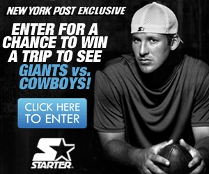 STARTER/NY POST 2012 KICKOFF GAME SWEEPSTAKES. Air, hotel, & tix to see Cowboys vs. Giants September 5th.