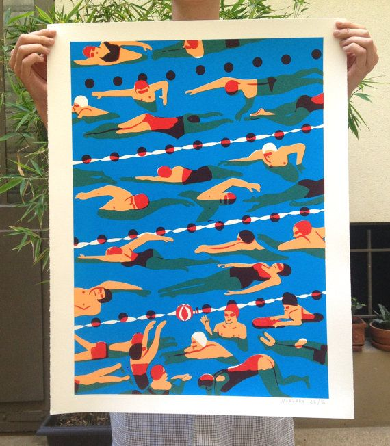 Poster / silk-screen crowd #02-La pool, virginie Morgand print of swimmers. red and blue. water.