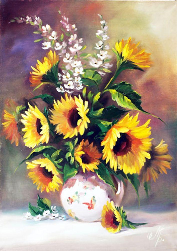 """Картина на холсте """"Желтые подсолнухи"""", купить картину маслом в картинной галереи """"Сайт подарков"""""""