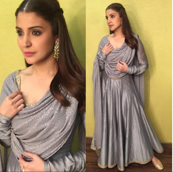 Glam Gal - Anushka Sharma Glam Point - Sultan Promotions Glam Check - Anushka wears a Rimple and Harpreet Narula creation with a statement earrings from Ishwarya Jewellery and a desi jutti by Fizzygoblet Glam Tip - A plain anarkali with a heavy work dupatta and a pair of Jutti will make an ethnic wear shine out. Bee & Blu by Srishti