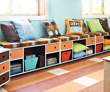 I need this in our playroom!: Playrooms Ideas, Kids Playrooms, Plays Rooms, Basements Rooms, Family Rooms, Families Rooms, Window Seats, Kids Rooms, Storage Benches