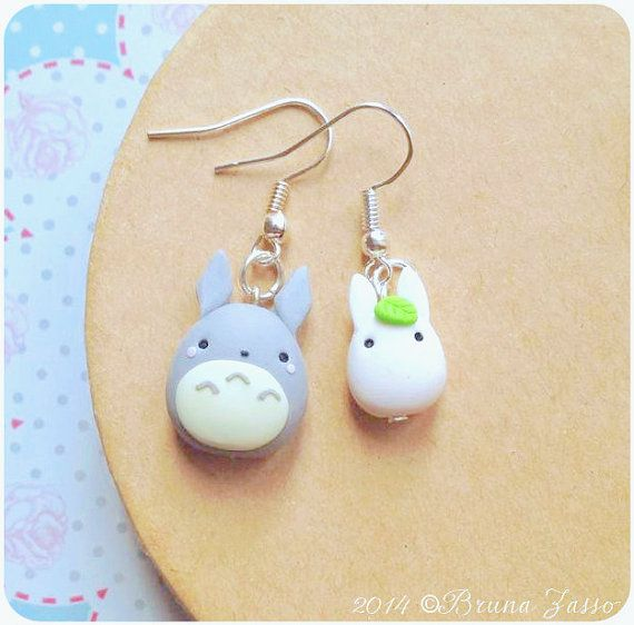 Totoro earrings ~ Cute tonarinototoroMiyazaki Ghibli Fimo Polymer Clay Earrings Kawaii My Neighbor Totoro