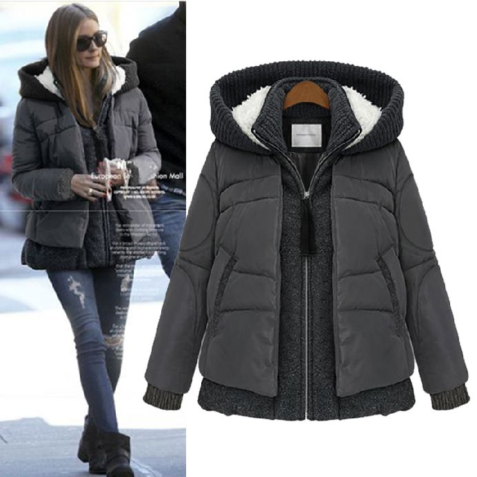 Goodnight Macaroon CHARCOAL GREY KNIT HOODED PUFFER HEAVENLY DOWN JACKET Olivia Palermo Street Style Winter Outfit Style 2014 Puffer Insulated Coat Jacket