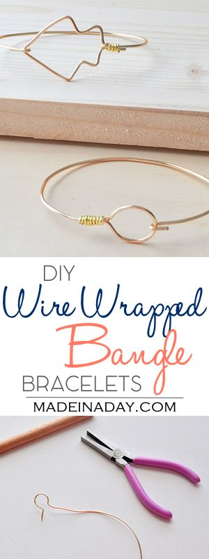DIY Wire Wrapped Bangle Bracelets,Easy stackable wire bangles, arrow bracelet, circle wire bangle, wrapped wire bracelets, gift idea, jewelry, see the tutorial on madeinaday.com  via @thelovelymrsp