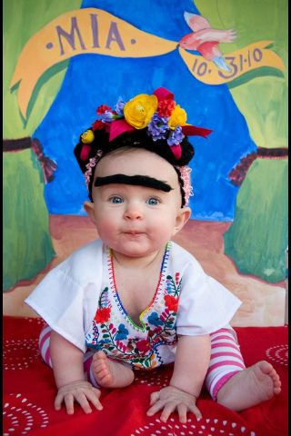 OMG. if we ever have kids, this is happening.  you think i'm kidding don't you? Baby Frida Kahlo halloween costume!