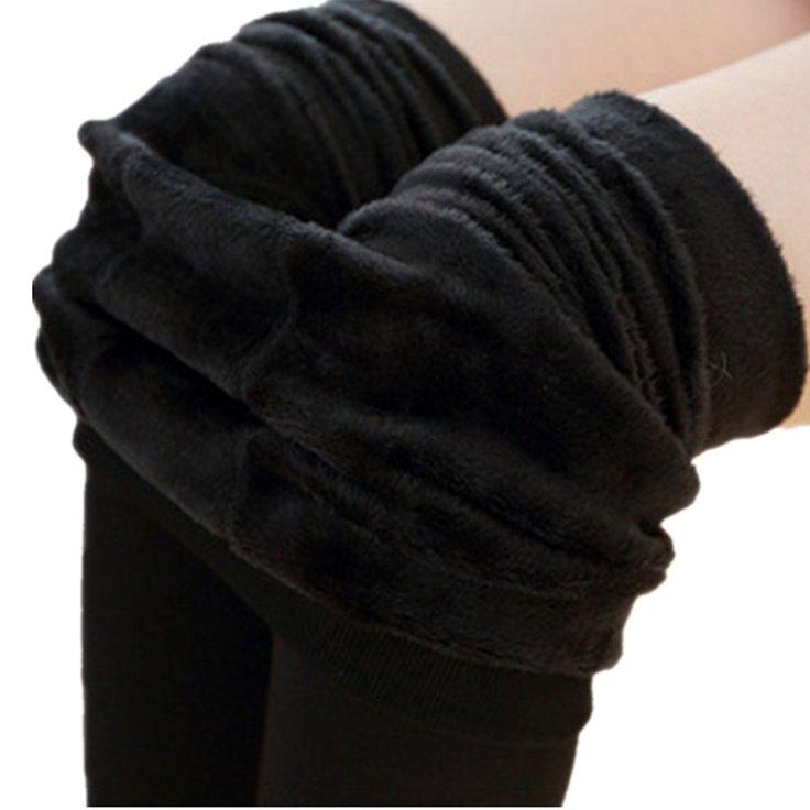 ASCHOEN Damen Winter Warm Samt Elastische Fleece gefüttert Leggings Schwarz x 1: Amazon.de: Bekleidung