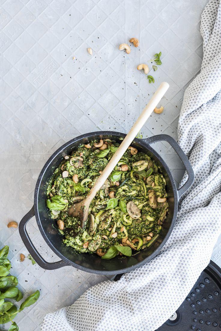 Pesto. Zoodles. Mushrooms. Cashews. Pot. Basil. Grey. Overhead. Pepper. Zucchini. Pasta. #foodphotography #zoodles #mushroompasta #vegan #keto #paleo